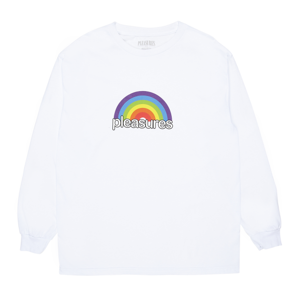 """Camiseta Manga Longa Pleasures """"Good Time"""" Branca"""