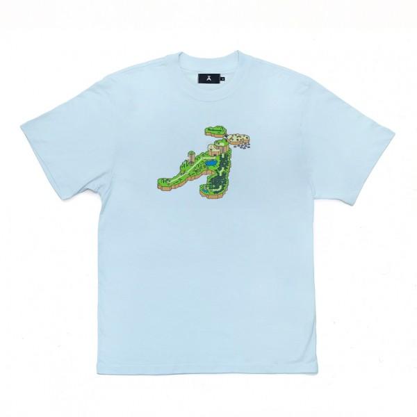 "Camiseta à Novos Artistas ""Super Mario Lãnd"" Azul Claro"
