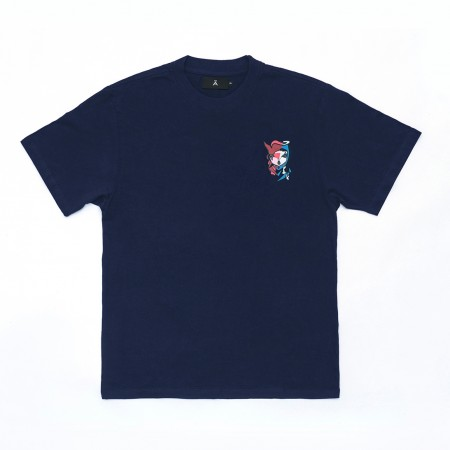 Camiseta à x Mari Mats Azul Marinho