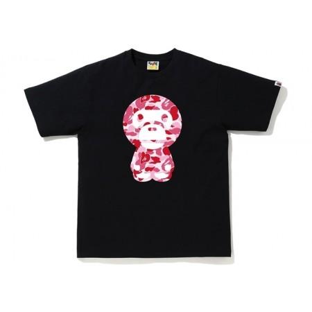 Camiseta Bape - ABC Camo Big Baby Milo Tee Pink Preta/Rosa