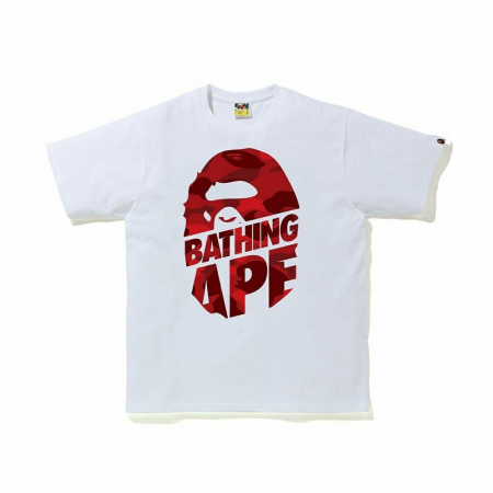 Camiseta Bape - Color Camo Peek Ape Head Branca/Vermelho