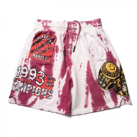 Shorts Moletom Chinatown Market - Three Rings Tie Dye Vermelho