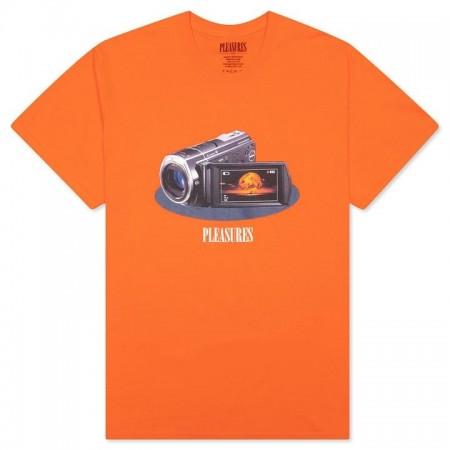 """Camiseta Pleasures """"Recording"""" Laranja"""