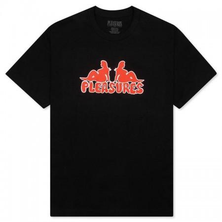 """Camiseta Pleasures """"THICC LOGO"""" Preta"""