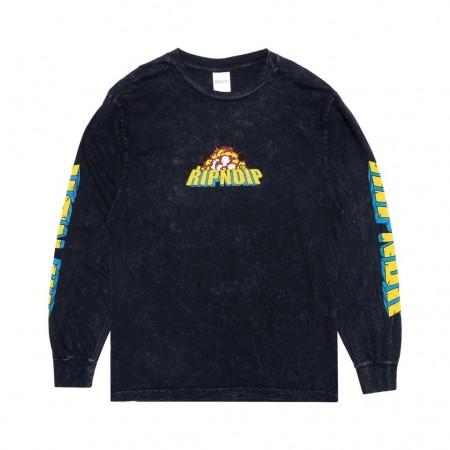 "Camiseta Manga Longa Ripndip ""Nermzilla"" Mineral Wash Preta"