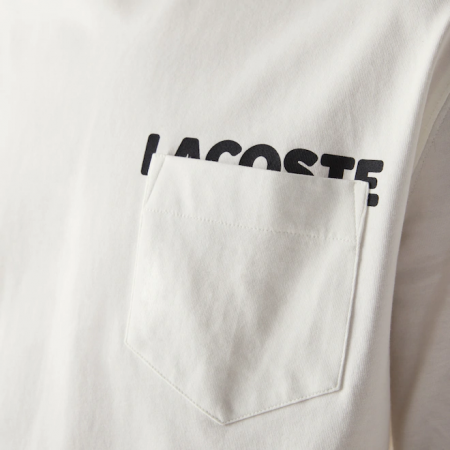 Camiseta Lacoste LIVE - Lettering And Pocket Branca