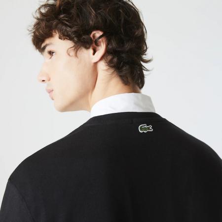 Camiseta Lacoste LIVE - Lettering And Pocket Preto