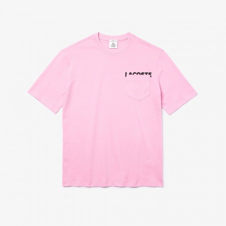 Camiseta Lacoste LIVE - Lettering And Pocket Rosa