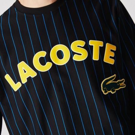 Camiseta Manga Longa Lacoste LIVE - Logo Striped Preto